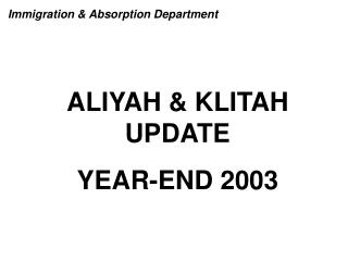 ALIYAH & KLITAH  UPDATE YEAR-END 2003