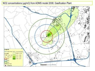 NO2 concentrations ( μ g/m3) from ADMS model 2008. Gasification Plant