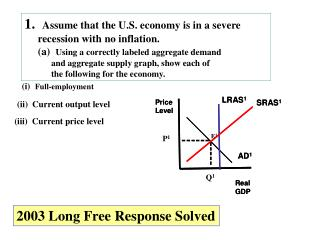 1.   Assume that the U.S. economy is in a severe      recession with no inflation.