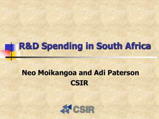 R&D  S pending in South Africa