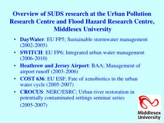 DayWater : EU FP5; Sustainable stormwater management (2002-2005)