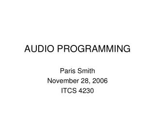 AUDIO PROGRAMMING