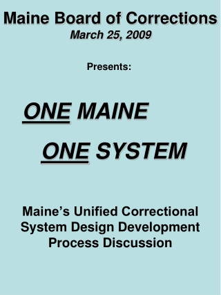 Maine Board of Corrections March 25, 2009