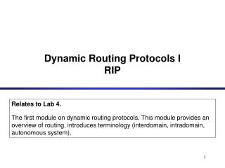 Dynamic Routing Protocols I RIP