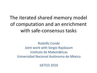 The iterated shared memory model of computation and an enrichment with safe-consensus tasks