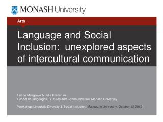 Language and Social Inclusion:  unexplored aspects of intercultural communication