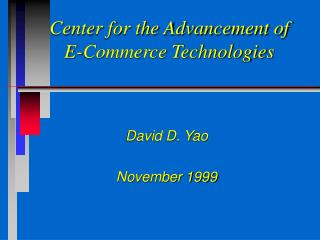 Center for the Advancement of E-Commerce Technologies
