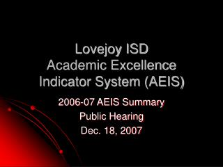 Lovejoy ISD  Academic Excellence Indicator System (AEIS)