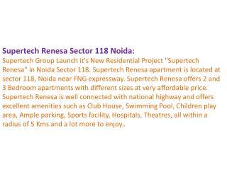 Supertech Group Noida 9899606065 Supertech Renesa Sector 118
