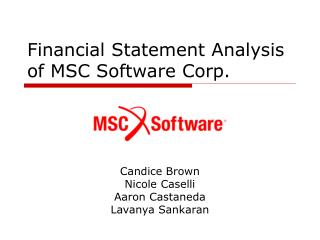 Financial Statement Analysis of MSC Software Corp.