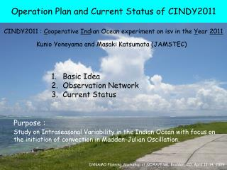 Operation Plan and Current Status of CINDY2011