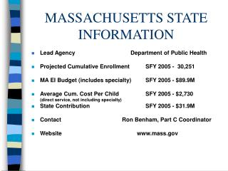 MASSACHUSETTS STATE INFORMATION