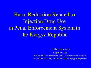 Harm Reduction Related to Injection Drug Use  in Penal Enforcement System in the Kyrgyz Republic