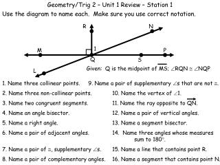 Geometry/Trig 2 – Unit 1 Review – Station 1