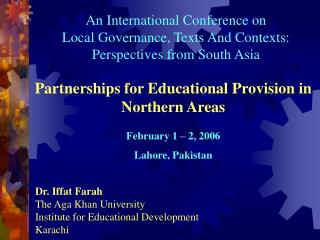 Partnerships for Educational Provision in Northern Areas