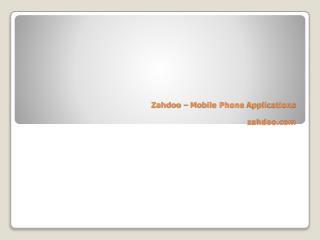 Zahdoo – Mobile Phone Applications