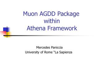 Muon AGDD Package                  within                        Athena Framework