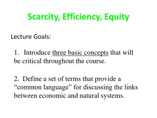 Scarcity, Efficiency, Equity