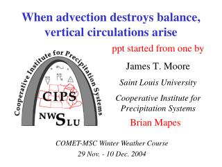 When advection destroys balance, vertical circulations arise