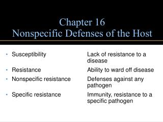 Chapter 16 Nonspecific Defenses of the Host