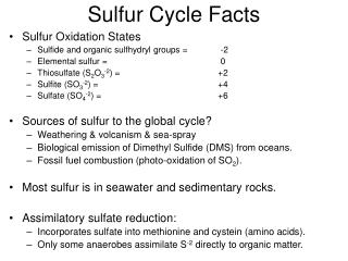 Sulfur Cycle Facts