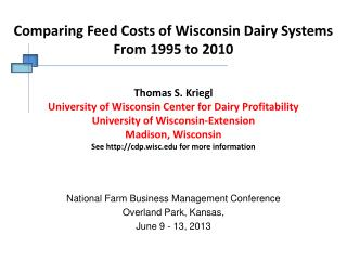National Farm Business Management Conference Overland Park, Kansas, June 9 - 13, 2013