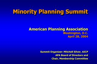 Minority Planning Summit