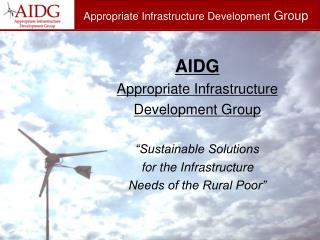 Appropriate Infrastructure Development  Group