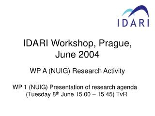 IDARI Workshop, Prague, June 2004