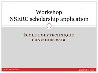 Workshop NSERC scholarship application