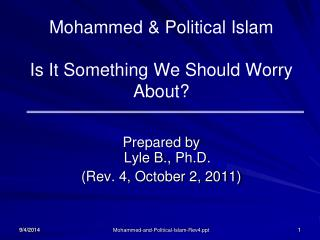 Mohammed & Political Islam Is It Something We Should Worry About?