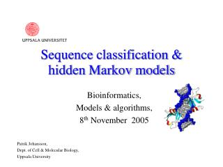 Sequence classification &  hidden Markov models