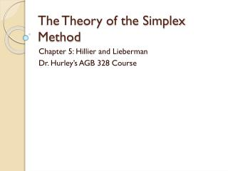 The Theory of the Simplex Method