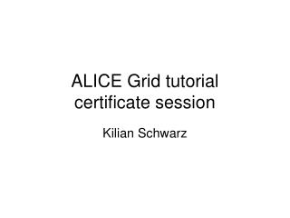 ALICE Grid tutorial certificate session