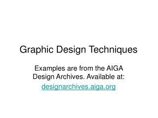 Graphic Design Techniques