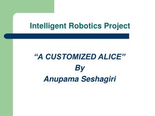 Intelligent Robotics Project