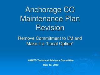 Anchorage CO Maintenance Plan Revision