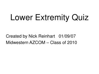 Lower Extremity Quiz