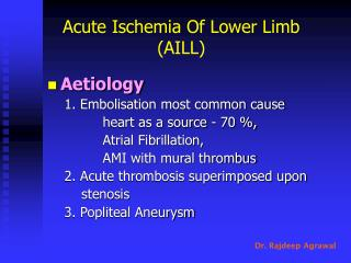 Acute Ischemia Of Lower Limb (AILL)