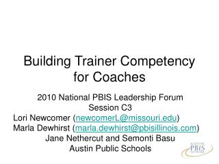 Building Trainer Competency for Coaches