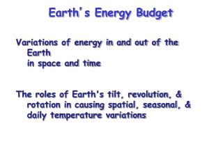 Earth ' s Energy Budget