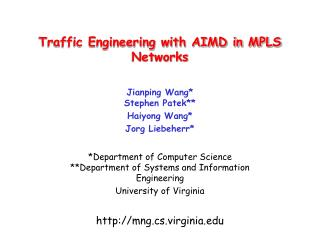 Traffic Engineering with AIMD in MPLS Networks