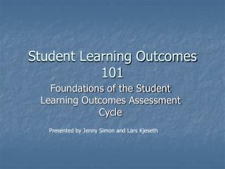 Student Learning Outcomes 101