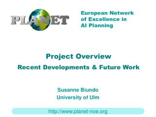 Project Overview Recent Developments & Future Work