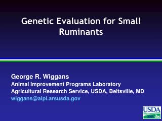 Genetic Evaluation for Small Ruminants