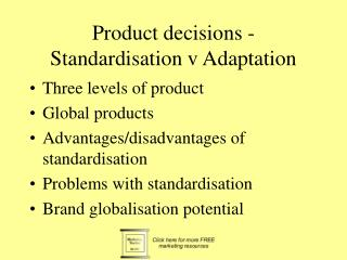 Product decisions - Standardisation v Adaptation