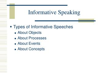 Informative Speaking