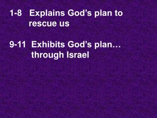1-8   Explains God's plan to         rescue us 9-11  Exhibits God's plan…           through Israel