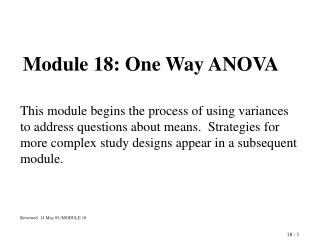 Module 18: One Way ANOVA