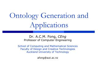 Ontology Generation and Applications